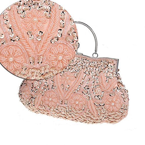 Embroidery Bridal Party Evening Handbag Beaded Ladies Clutch Vintage Floral MMYOMI Crossbody Pink Prom Bag Wedding Sequin vxwqtU6n0