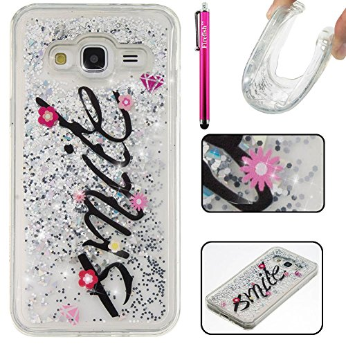 Protective Anti Cover Slip (Galaxy J310 / J3 Case, Firefish Slim Dynamic Flowing [Anti-Slip] Flexible TPU [Scratch Resistances] Protective Cover for Girls Children Fits for Samsung Galaxy J310 / J3 -Smile)