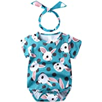 Dressystar Newborn Baby Boys Girls Summer Clothes Floral Romper Bodysuit Jumpsuit Playsuit + Headband Outfits