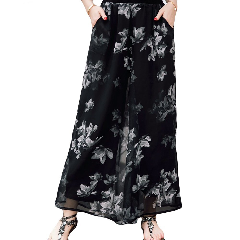 LOCOMO Chiffon Pleated Culottes Trousers Wide Leg Palazzo Pant Floral FFT240s05 One Size FFT240s01