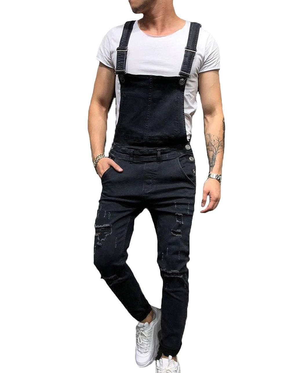 attractive & durable luxury aesthetic shop XARAZA Men's Slim Fit Ripped Denim Overalls Casual Bib Pants Jumpsuit