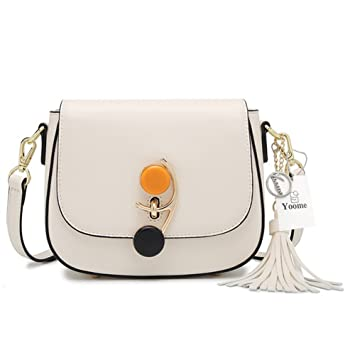 Yoome Ladies Leather Tassel Shoulder Bag with Spin Branch Lock Saddle Bag  Purse Fashion Mini Evening 0df8f2323459e