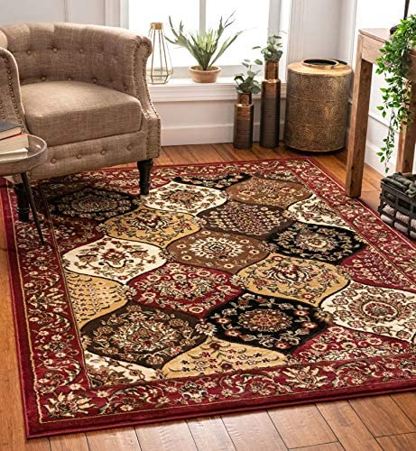 Dynasty Panel Red Multi Oriental Floral Geometric Modern Casual Area Rug 5×7 5 3 x 7 3 Easy to Clean Stain Fade Resistant Shed Free Contemporary Formal Lattice Trellis Soft Living Dining Room Rug