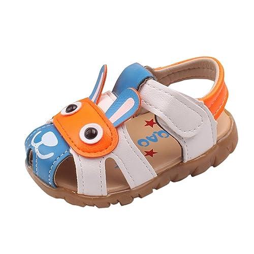 72b87af5fcd9e Evedaily Bébé Garçon Chaussures Premiers Pas Été Sandales LED Bout Fermé en Cuir  Semelle Antidérapante Velcro
