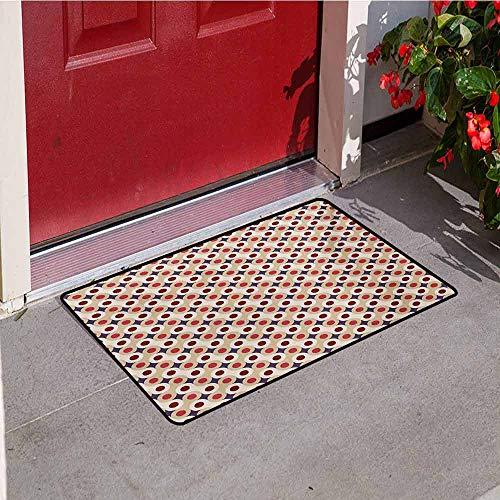 (Jinguizi Geometric Universal Door mat Abstract Disc Shaped Circle Motif Round Retro Wrench Art Deco Inspired Mosaic Door mat Floor Decoration W23.6 x L35.4 Inch Multicolor)