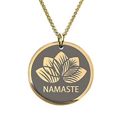 Amazon namaste lotus yoga necklace beach gold plated laser namaste lotus yoga necklace beach gold plated laser engraved pendant aloadofball Gallery