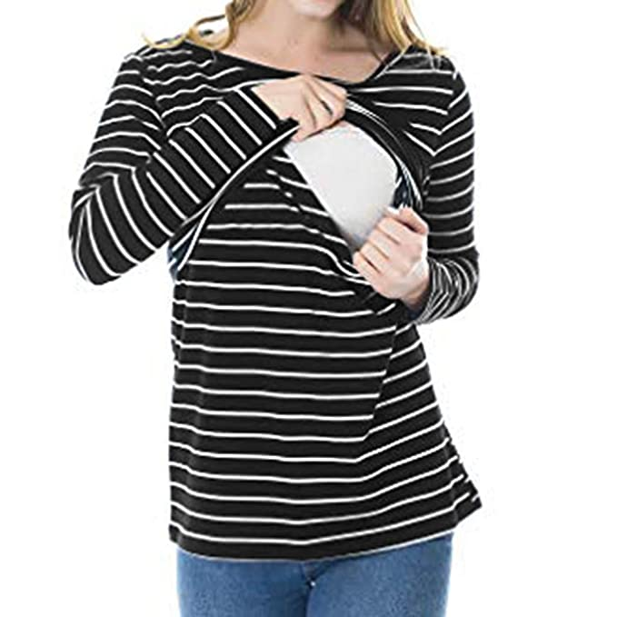 6c7878d96ec19 Zerototens Plus Size Pregnancy T Shirt, Women Mother Long Sleeve Crewneck Blouse  Tops Loose Double Layered Striped Maternity Pullover Tops Breastfeeding ...