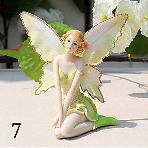 DAWEIF Flower Fairy Angel Figurines Miniatures Resin Beautiful Girl Figurines Garden Wedding Home Ornament Gifts