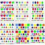Lot gommettes autocollantes 414 carré rond c½ur oval triangle carte scrapbooking