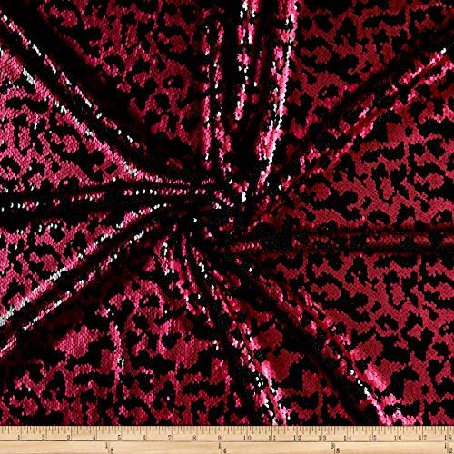 Sportek International Fancy Leopard Sequin Stretch Fabric, Fuchsia, Fabric By The Yard