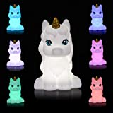 Unicorn LED Night Light for Kids, Portable USB Rechargeable 7-Color Touch Control Nursery Night Lamp for Bedroom Home Decorat