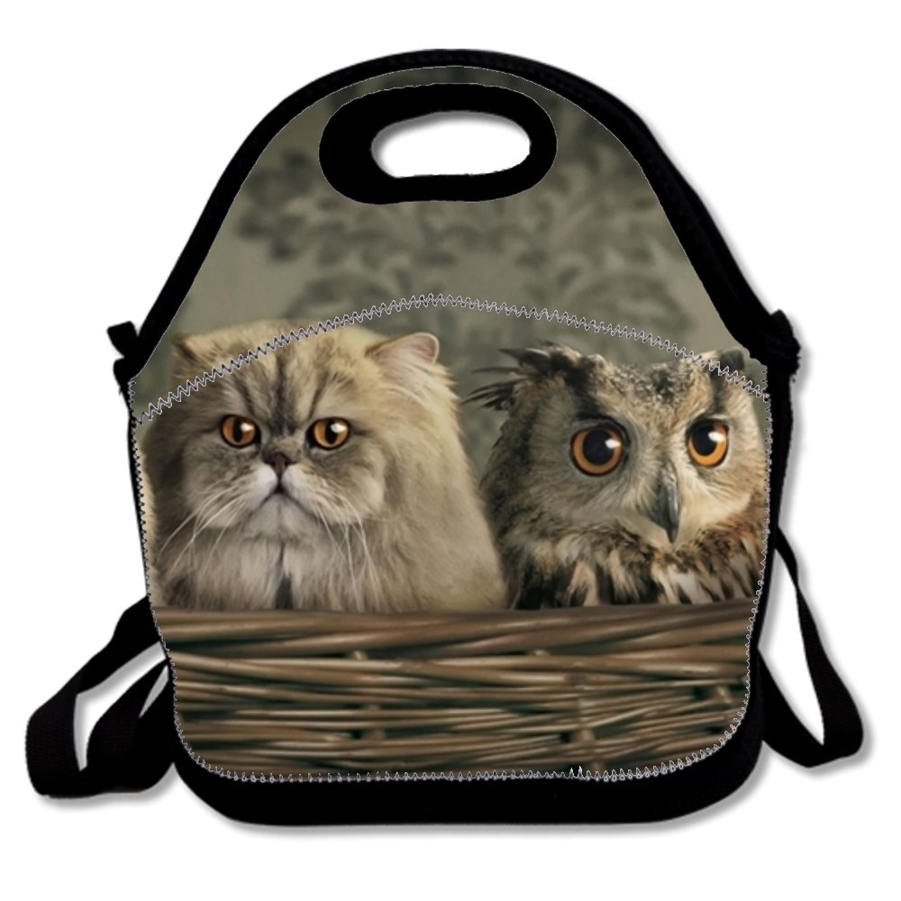 Owl In A Basket Of Cats Lunch Box Bag For Kids,Detachable Adjustable Shoulder Strap