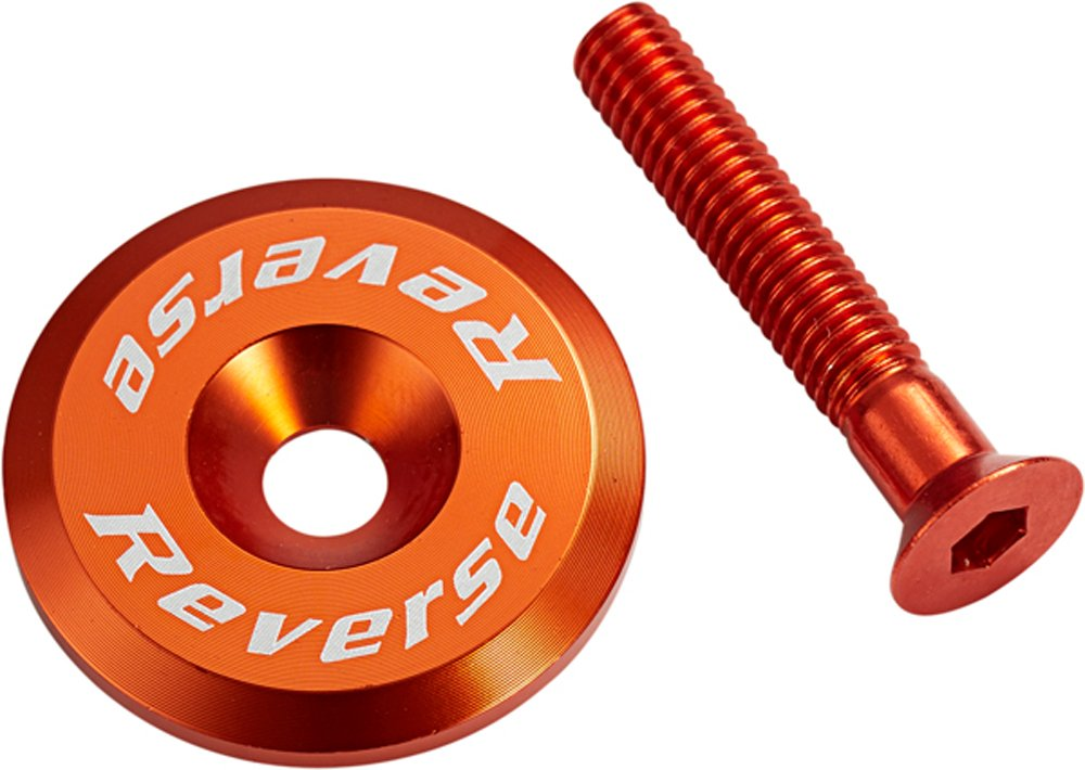 Reverse Steuersatzkappe Alu mit Schraube dunkel orange