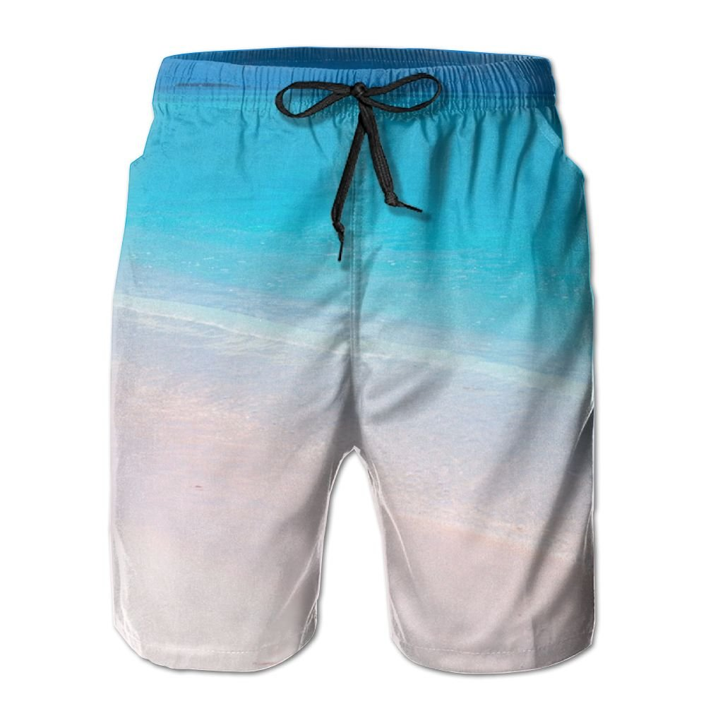 JDHFAF Blue Sea Mens Beach Board Shorts Quick Dry Summer Casual Swimming Soft Fabric with Pocket