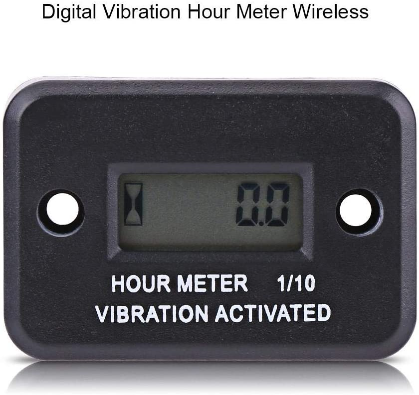 Qiilu Digitale Vibration Stundenz/ähler Gauge Wireless f/ür Vibrierende Maschine Motorrad ATV Boot Marine
