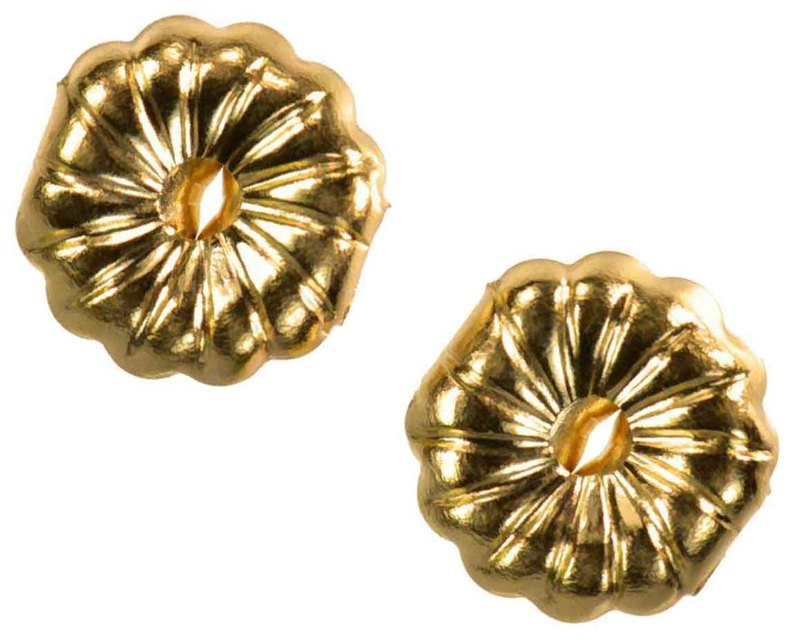 Solid 14K Yellow Gold Earring Backs Jumbo Premium Swirl 9mm (1 Pair) by uGems (Image #4)