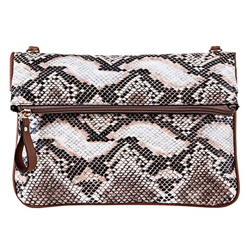 YAOSEN Women Snakeskin Envelope Clutch PU Leather Handbag Purse (Coffee)