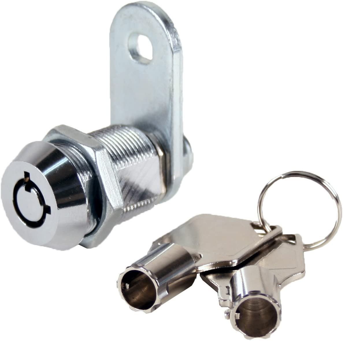 """FJM Security 2400AM-KA Tubular Cam Lock with 7/8"""" Cylinder and Chrome Finish, Keyed Alike"""