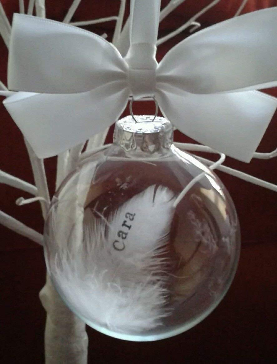 Personalised feather Christmas bauble