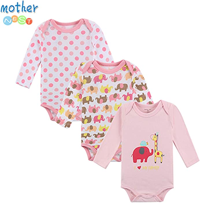 Amazon.com: Chitop 100% Cotton Baby Bodysuit - Autumn Newborn Cotton ...