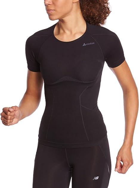 Odlo - Camiseta de Acampada y Senderismo para Mujer, tamaño XL, Color Negro