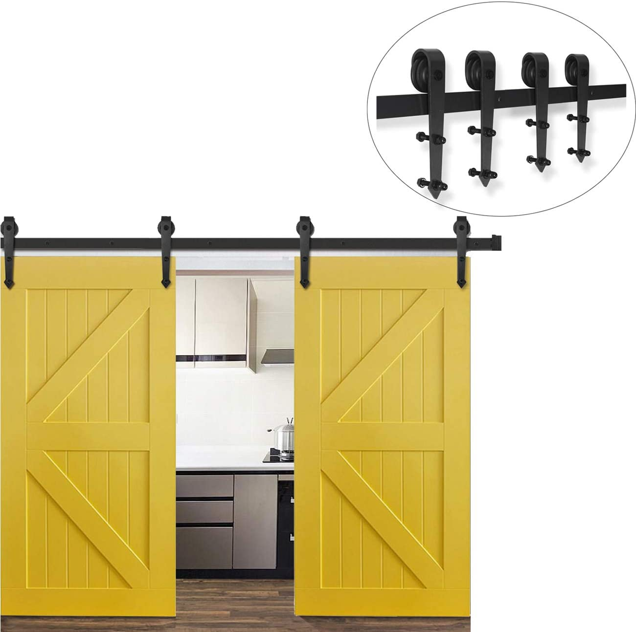 Juego de 2 puertas correderas resistentes para puerta corredera de color negro de 2,4 m con instrucciones de instalación (idioma español no garantizado): Amazon.es: Bricolaje y herramientas