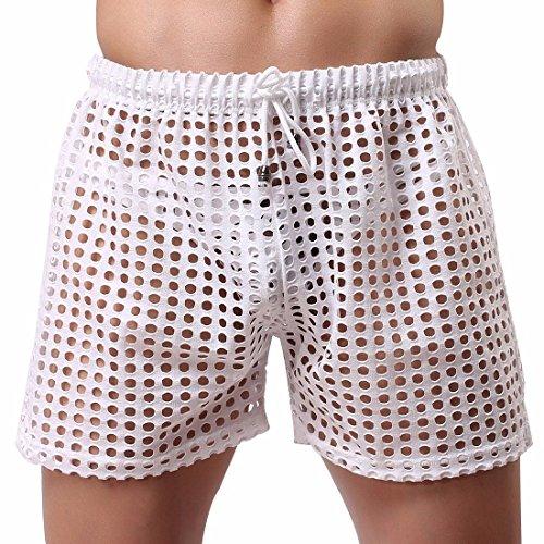 - FEESHOW Men's Hollow Openwork Drawstring Bikini Cover up Boxer Briefs Shorts Swim Trunks White