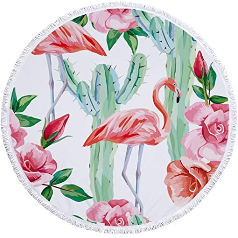 Sticker Superb Flamenco Estilo Animal Toallas de Playa Redondas con Borla Rosa y Oro Grande 59