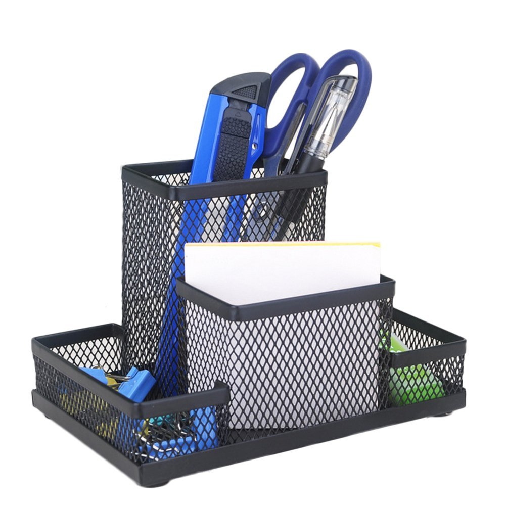 Da.WA Hollow nero mesh Pen Pencil pot Holder contenitore organizer da scrivania per ufficio casa multifunzione