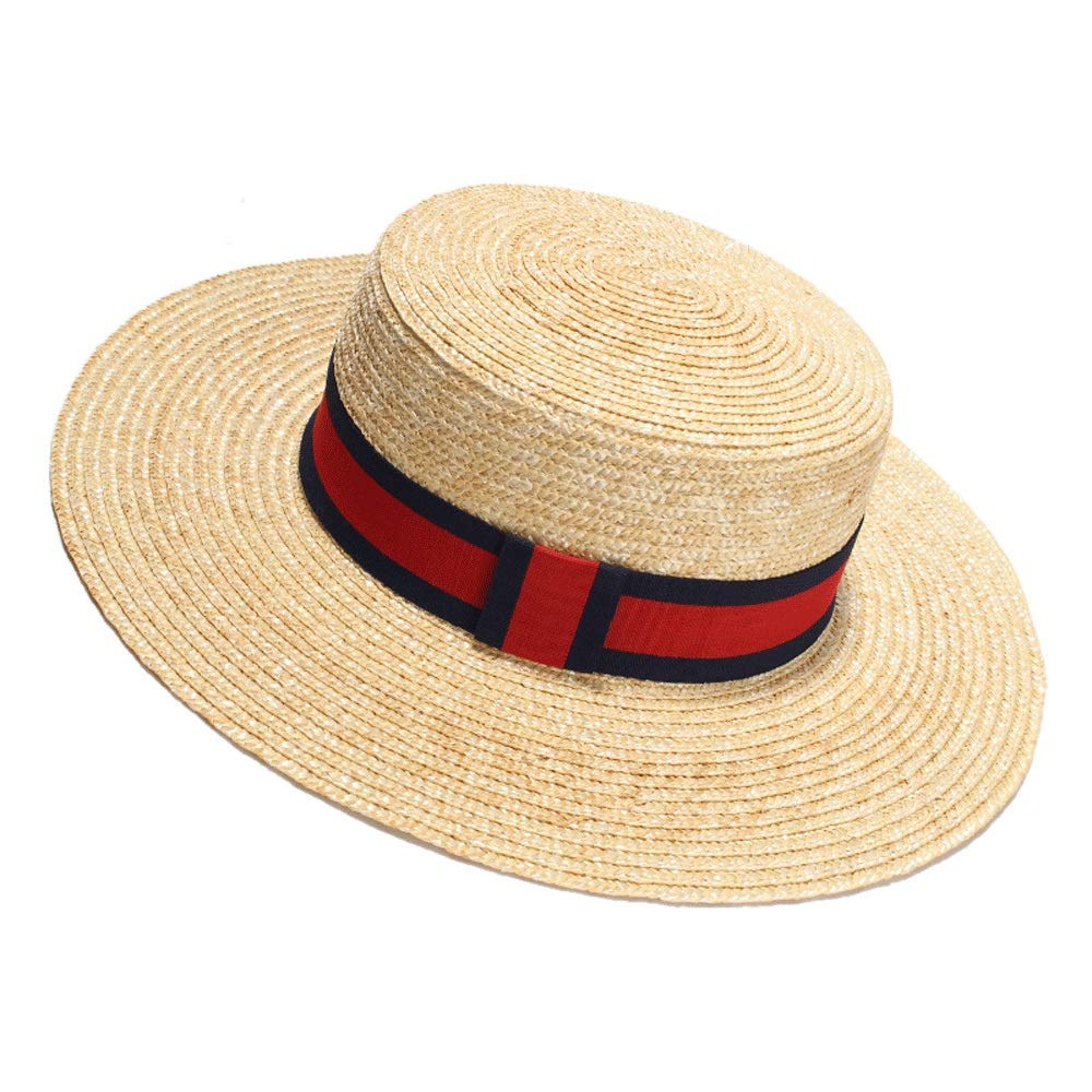 TRDyj Straw Hat Straw Visor European and American Fashion Female Flat Cap Hand-Woven Spring and Summer Shade Travel Hat (Style : Red Strap)