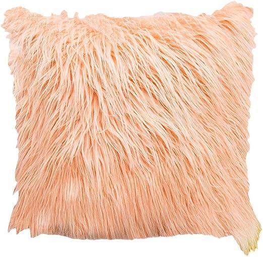 VOSAREA 1Pc 45x45CM European Plush Pillowcase Fluffy Pillow Cover Throw Pillow Cover Imitation Wool Cushion Cover Pink (Without Pillow Core): Amazon.es: Hogar