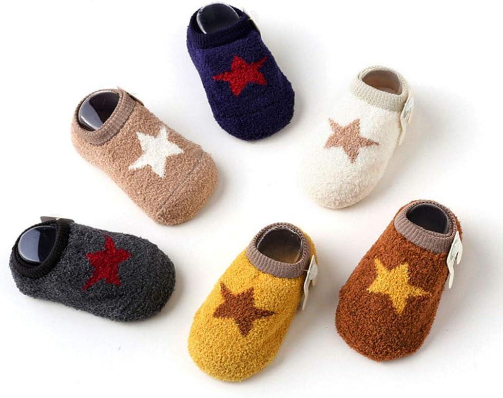 @Y.T (al Azar, 3 Pares de Calcetines de bebé para el Suelo, diseño de Dibujos Animados, Suelas Antideslizantes para el hogar de los niños