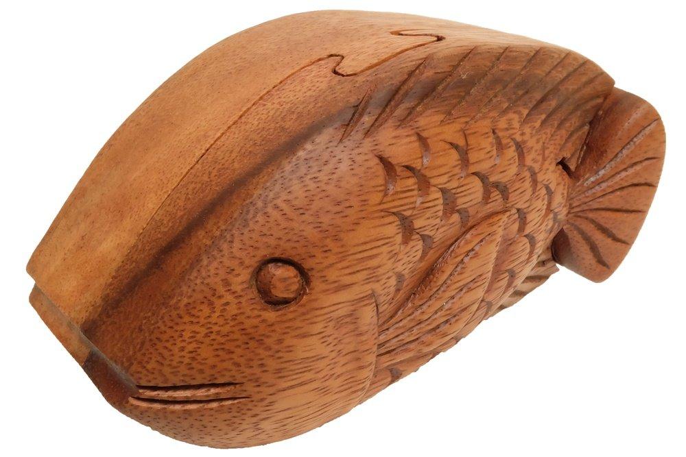 2019年新作入荷 デザインby デザインby unseenthailand手彫り木製パズルボックス ブラウン 魚 魚 ブラウン B073Z9B58K, CRAFT NAVI:75b7c7c7 --- a0267596.xsph.ru