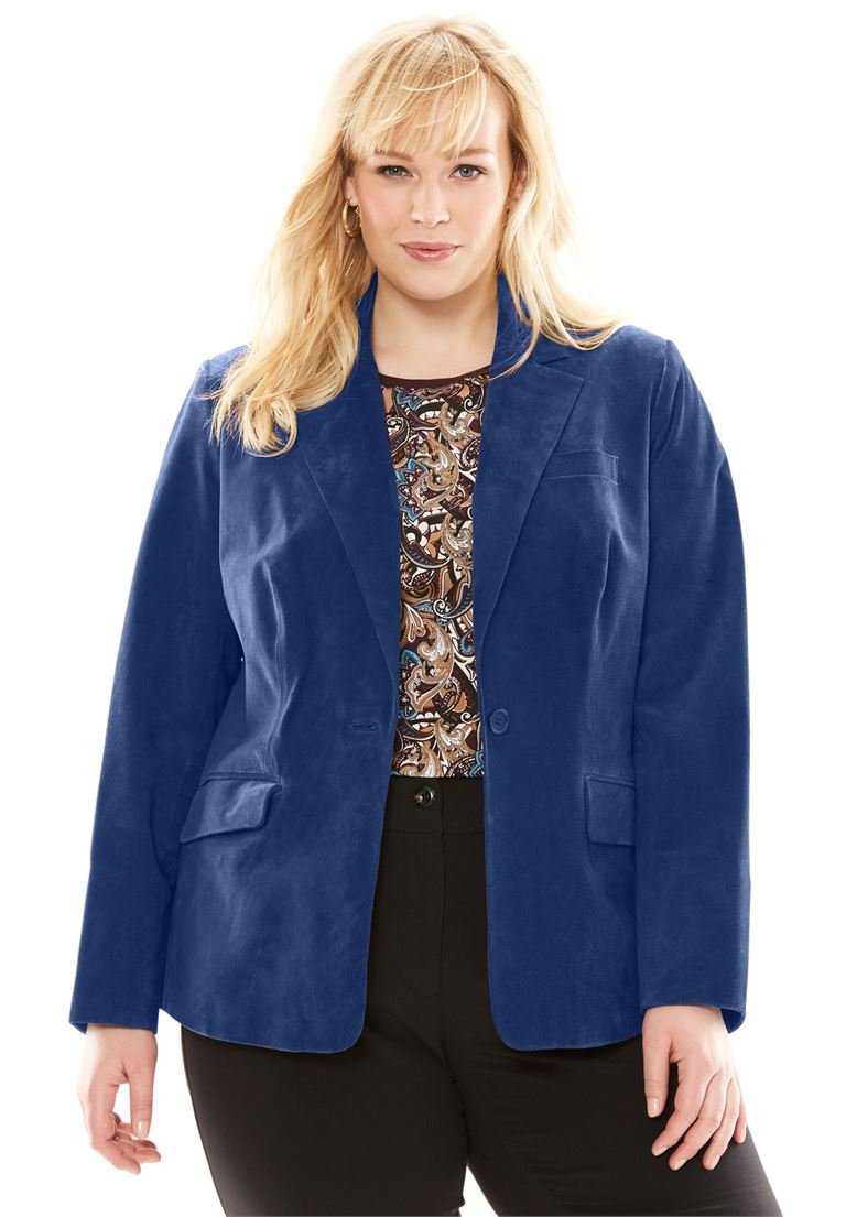Jessica London Women's Plus Size Fitted Suede Blazer Evening Blue,20
