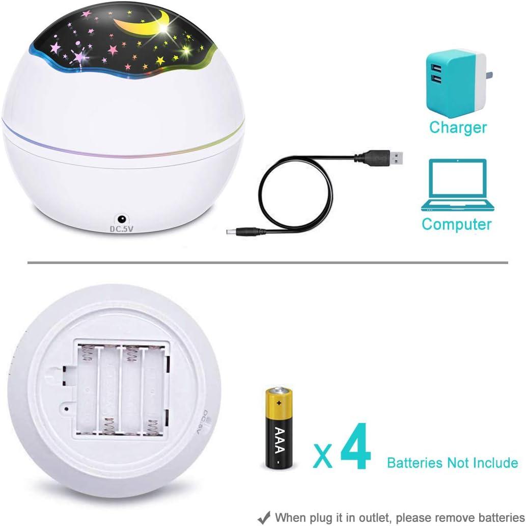 proiettore di luce notturna rotante a 360/° con 8 modalit/à di colore per cameretta dei bambini 01-bianco BICASLOVE Proiettore notturno 2 in 1 LED stellato e onda oceanica