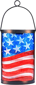Hanging Solar Lantern Outdoor Decorative Waterproof LED Solar American Flag Lights Tabletop Lamp for Outdoor Patio Garden