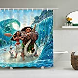 LIGHTINHOME Kids Moana Movie Shower Curtain Set Blue Ocean Funny Animal Shower Curtain Panel Polyester Waterproof Fabric 72 x72 Inches With 12-Pack Plastic Shower Hooks