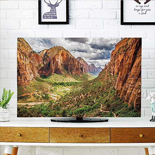 Jiahonghome tv Protective Cover Utah Plateau Mojave Desert Southwest Erosion Navajo Artprint Brown Green tv Protective Cover W36 x H60 INCH/TV 65