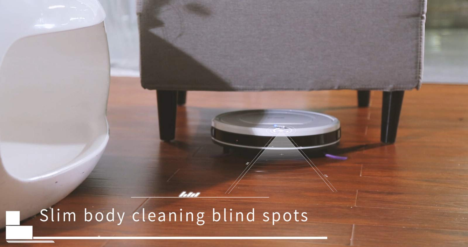 Glumes Smart Robotic Vacuum, Pet Hair Care, Powerful Suction Tangle-free, Super Quiet, Slim Design, Auto Charge, Daily Planning, Good For Hard Floor and Low Pile Carpet Ideal Gift BF Sales (Ship from US!) (white) by Glumes (Image #8)