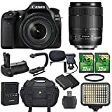 Canon EOS 80D SLR CMOS 24.2MP Digital Camera with Canon EF-S 18-135mm f/3.5-5.6 IS USM Lens + 2 pc 32GB SD Cards + Extra Battery + Battery Grip + Video Light + Microphone + Scorpion Bracket + Case