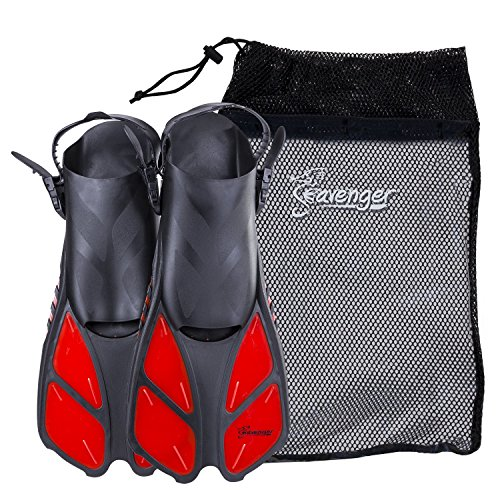 Adjustable Strap Fins - Seavenger Snorkeling Swim Fins with Bag (Red, S/M (Size 4.5 to 8.5))