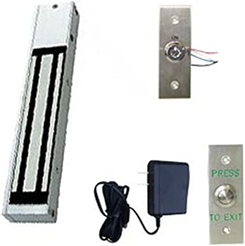 One Door Magnetic Lock Kit 600Lbs Hold Force with Key Switch /& Exit Button