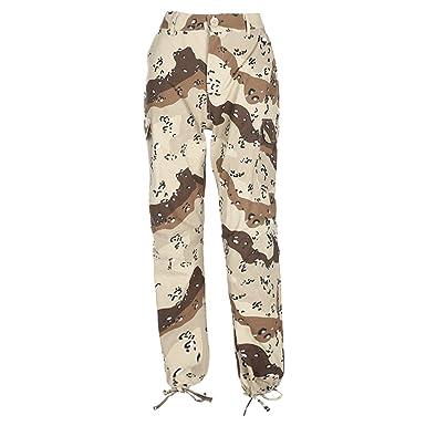 46f8125b6c25 YiLianDa Femme Imprimé Camo Pantalon Cargo Pantalon Casual Pantalon ...