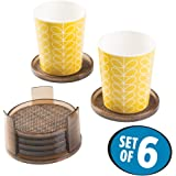 mDesign Round Drink Coasters (Set of 6) - Bronze/Sand