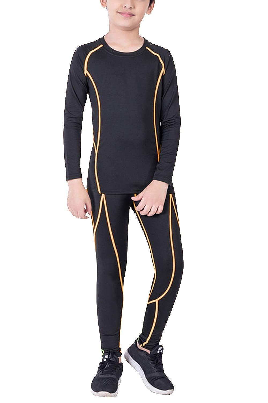 Minghe Bambini Set di biancheria intima termica maniche lunghe thermo camicia + pantaloni da sci ragazze e ragazzi