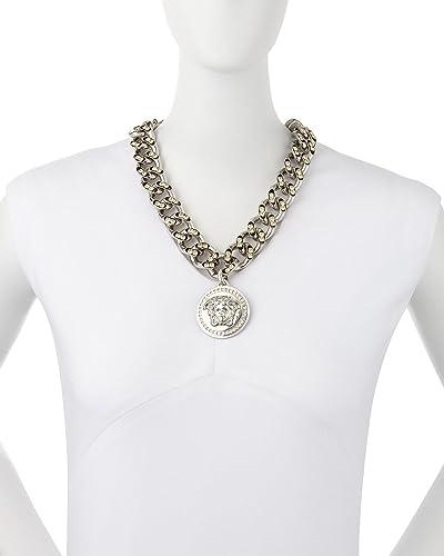 85e8578899c Versace Icône surdimensionné Crystal Link Médaillon Chaîne Collier ...