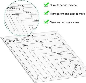 CODIRATO 2 PCS Regla de Acolchado de Pl/ástico Regla de Mosaico Transparente Regla de Costura Regla de Patchwork para Coser Bordear Parchar Atar