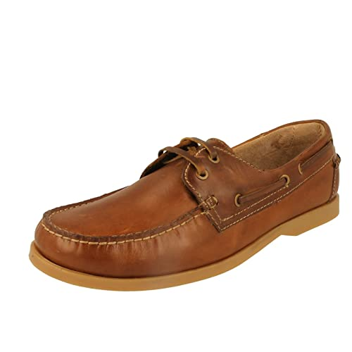 27200e1642087 Padders Deck Mens Leather Wide (G Fit) Boat Shoes Tan UK 6: Amazon ...
