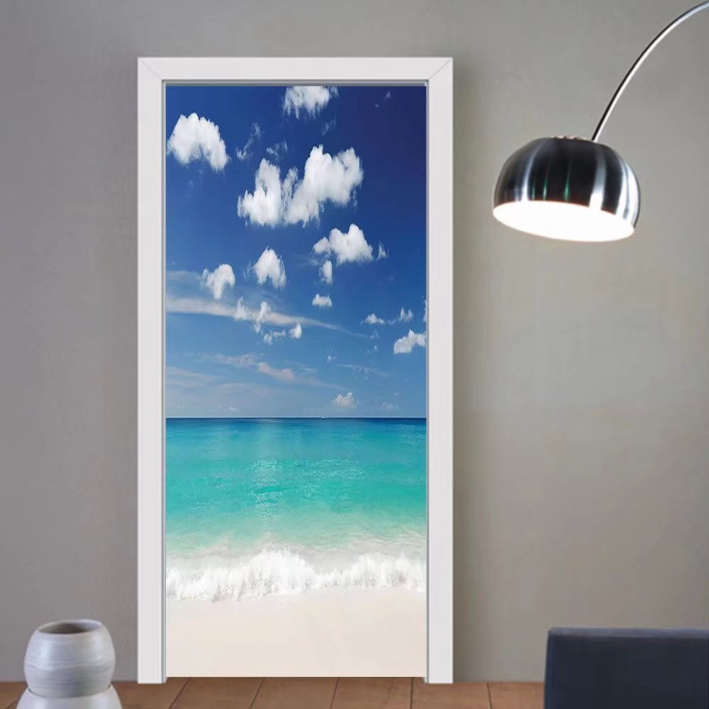 Gzhihine custom made 3d door stickers Tropical Summer Beach with Exquisite Sky Relax Holiday Away Serene Coast Scenery Blue Turquoise White For Room Decor 30x79