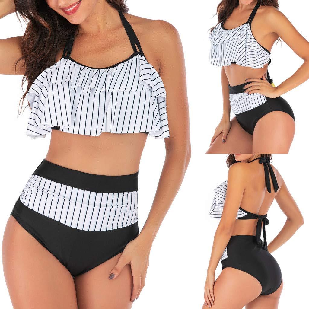 L, ❖Blanc SUNNSEAN Maillot De Bain Joli 2 Pi/èCes /à Volant Floral Tankini Taille Haute /éPaules D/éNud/éEs Swimwear